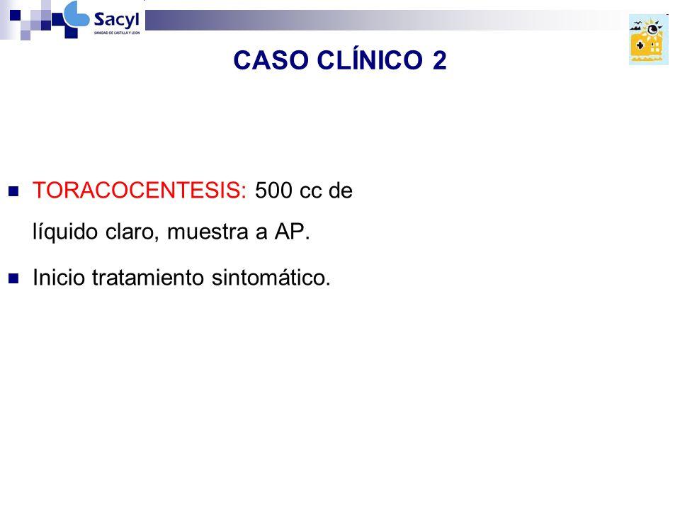 CASO CLÍNICO 2 TORACOCENTESIS: 500 cc de líquido claro, muestra a AP.