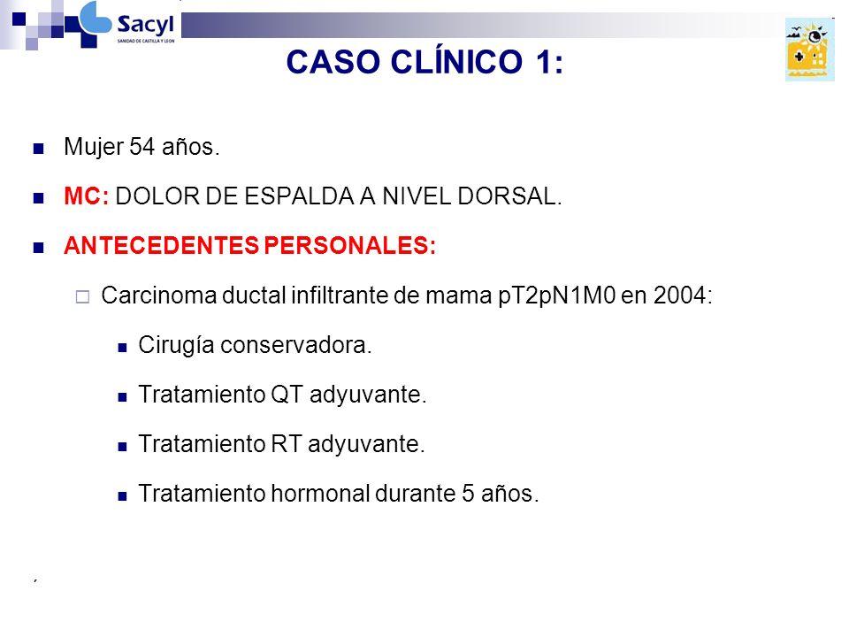 CASO CLÍNICO 1: Mujer 54 años. MC: DOLOR DE ESPALDA A NIVEL DORSAL.