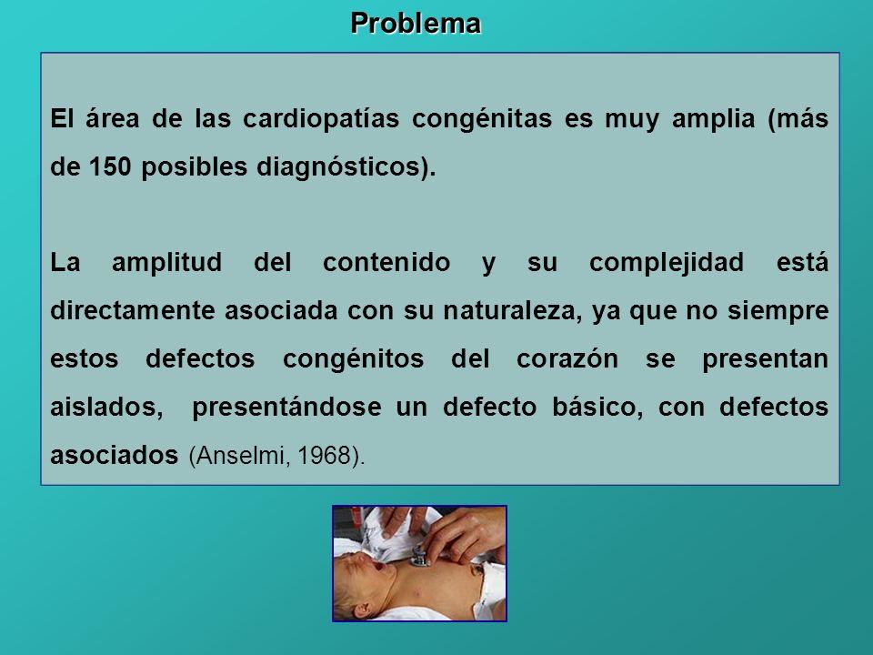 Problema El área de las cardiopatías congénitas es muy amplia (más de 150 posibles diagnósticos).