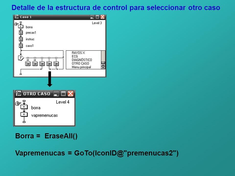 Detalle de la estructura de control para seleccionar otro caso