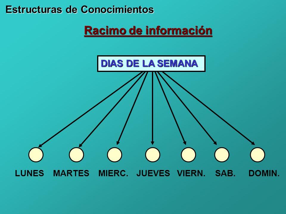 Racimo de información Estructuras de Conocimientos DIAS DE LA SEMANA