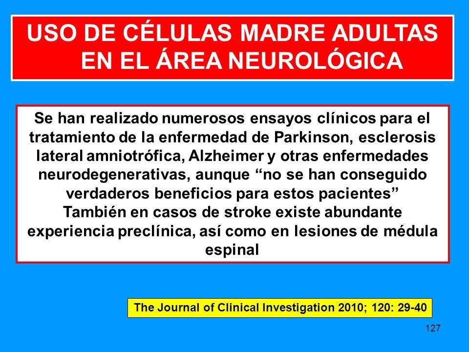 USO DE CÉLULAS MADRE ADULTAS EN EL ÁREA NEUROLÓGICA