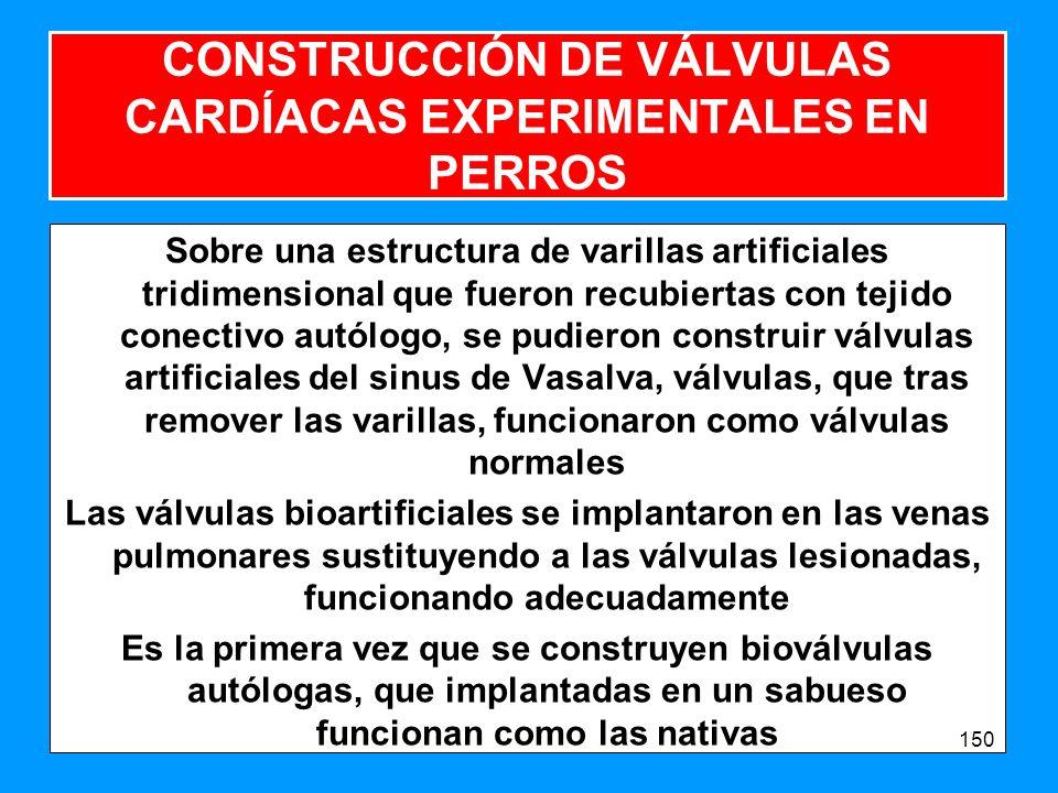 CONSTRUCCIÓN DE VÁLVULAS CARDÍACAS EXPERIMENTALES EN PERROS