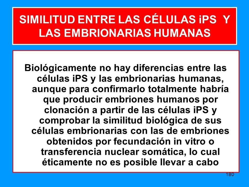 SIMILITUD ENTRE LAS CÉLULAS iPS Y LAS EMBRIONARIAS HUMANAS