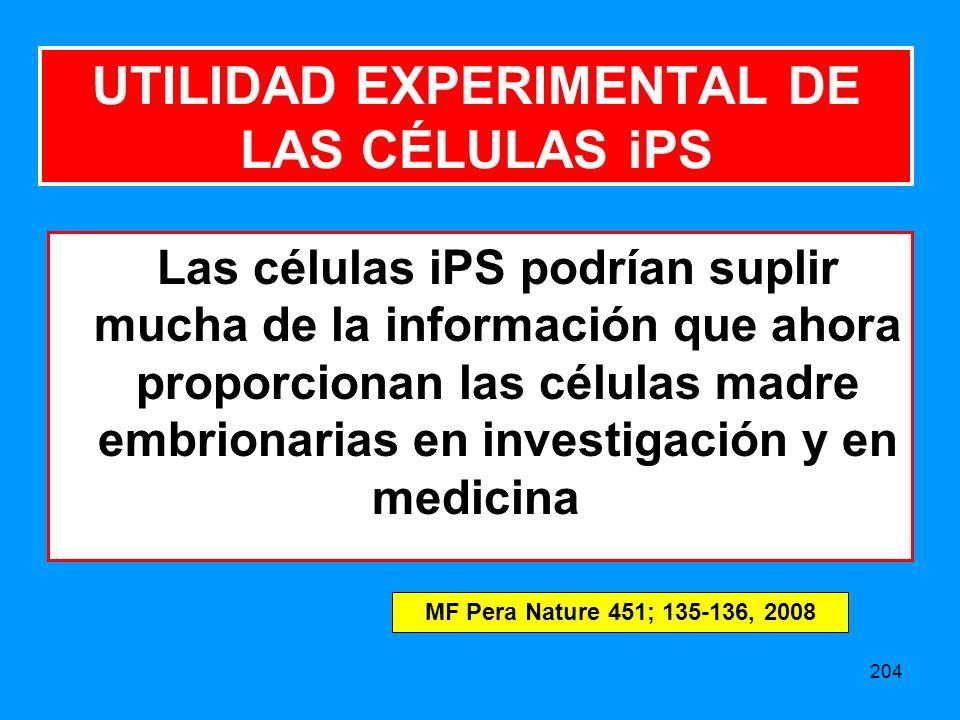 UTILIDAD EXPERIMENTAL DE LAS CÉLULAS iPS