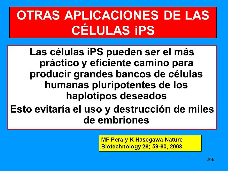 OTRAS APLICACIONES DE LAS CÉLULAS iPS