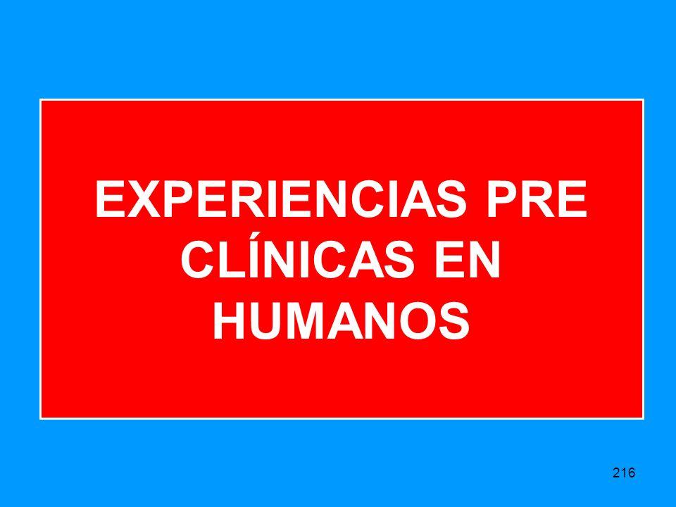 EXPERIENCIAS PRE CLÍNICAS EN HUMANOS
