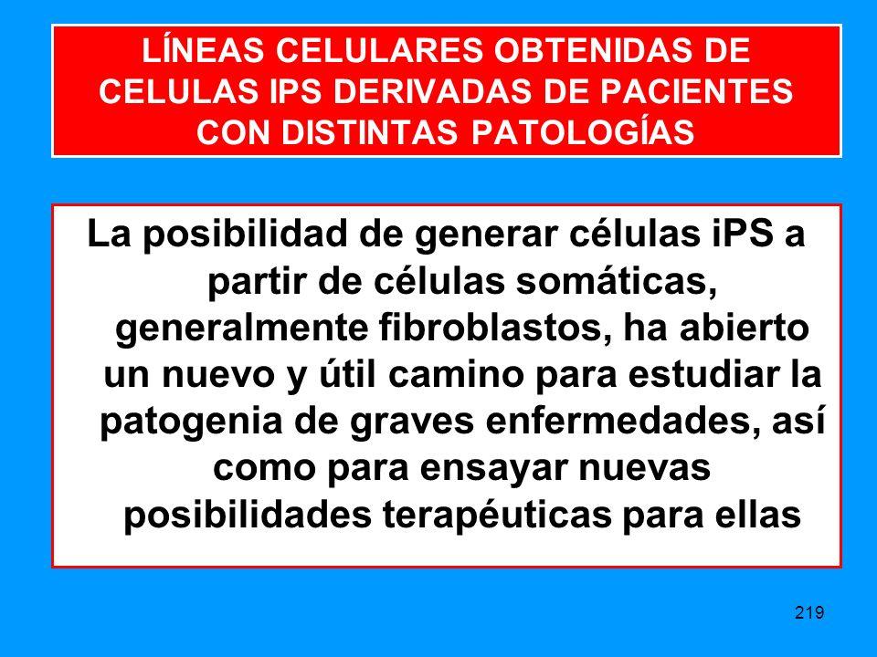 LÍNEAS CELULARES OBTENIDAS DE CELULAS IPS DERIVADAS DE PACIENTES CON DISTINTAS PATOLOGÍAS