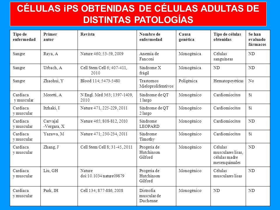 CÉLULAS iPS OBTENIDAS DE CÉLULAS ADULTAS DE DISTINTAS PATOLOGÍAS
