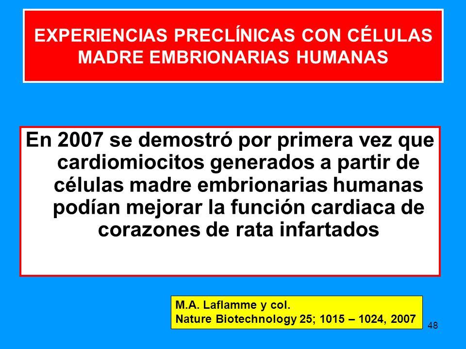 EXPERIENCIAS PRECLÍNICAS CON CÉLULAS MADRE EMBRIONARIAS HUMANAS