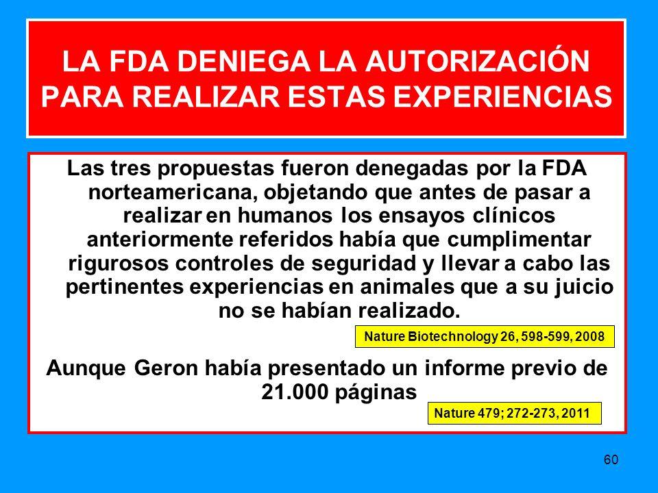 LA FDA DENIEGA LA AUTORIZACIÓN PARA REALIZAR ESTAS EXPERIENCIAS