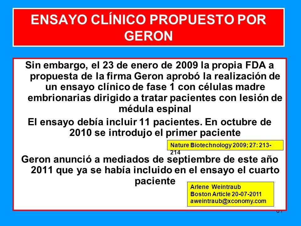 ENSAYO CLÍNICO PROPUESTO POR GERON