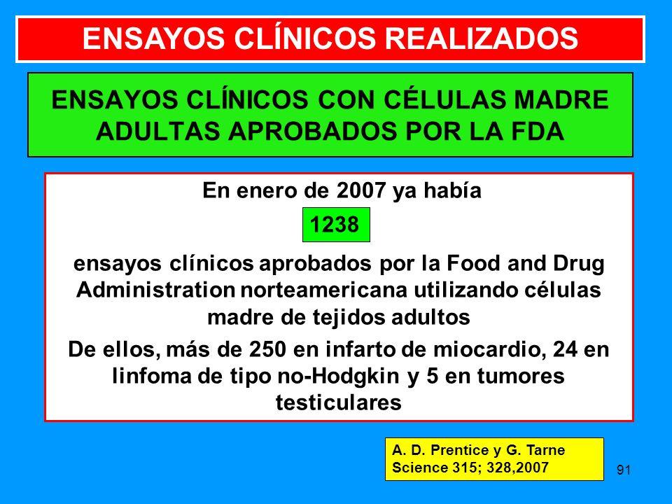 ENSAYOS CLÍNICOS CON CÉLULAS MADRE ADULTAS APROBADOS POR LA FDA