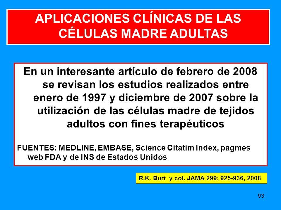APLICACIONES CLÍNICAS DE LAS CÉLULAS MADRE ADULTAS