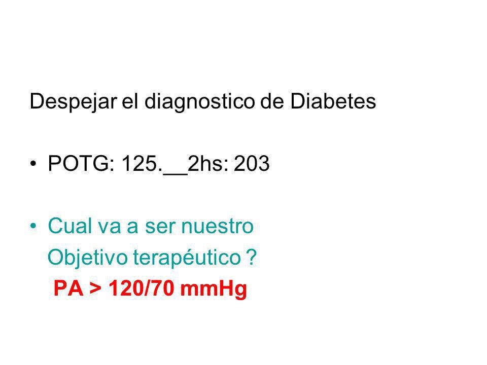 Despejar el diagnostico de Diabetes