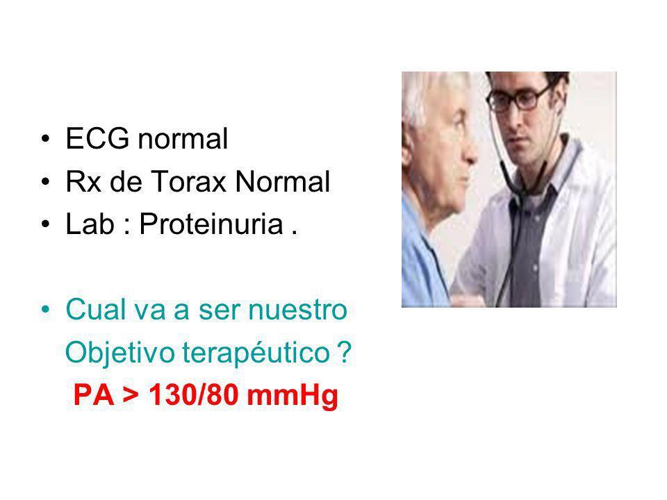 ECG normal Rx de Torax Normal. Lab : Proteinuria . Cual va a ser nuestro. Objetivo terapéutico