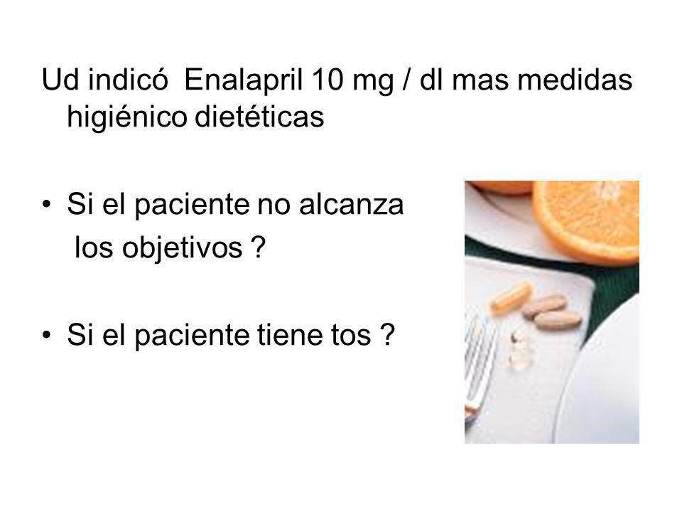 Ud indicó Enalapril 10 mg / dl mas medidas higiénico dietéticas