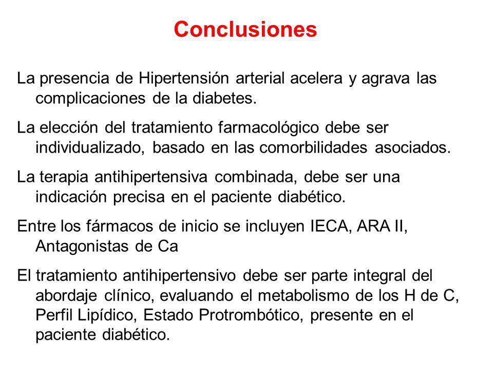 Conclusiones La presencia de Hipertensión arterial acelera y agrava las complicaciones de la diabetes.