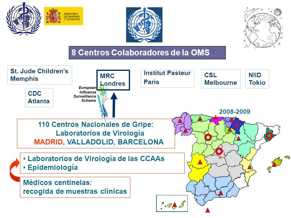A1 8 Centros Colaboradores de la OMS 110 Centros Nacionales de Gripe: