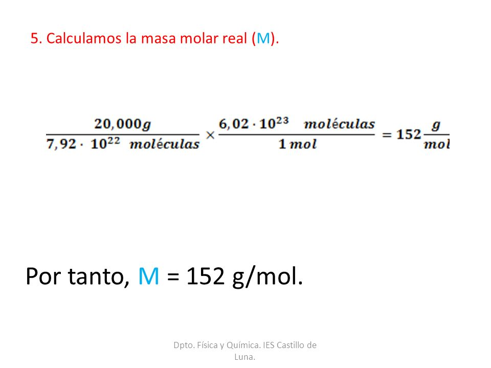 5. Calculamos la masa molar real (M).