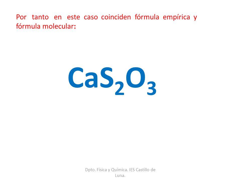 Por tanto en este caso coinciden fórmula empírica y fórmula molecular: