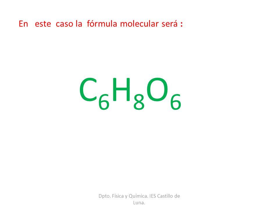 En este caso la fórmula molecular será :