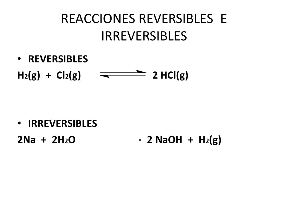 REACCIONES REVERSIBLES E IRREVERSIBLES
