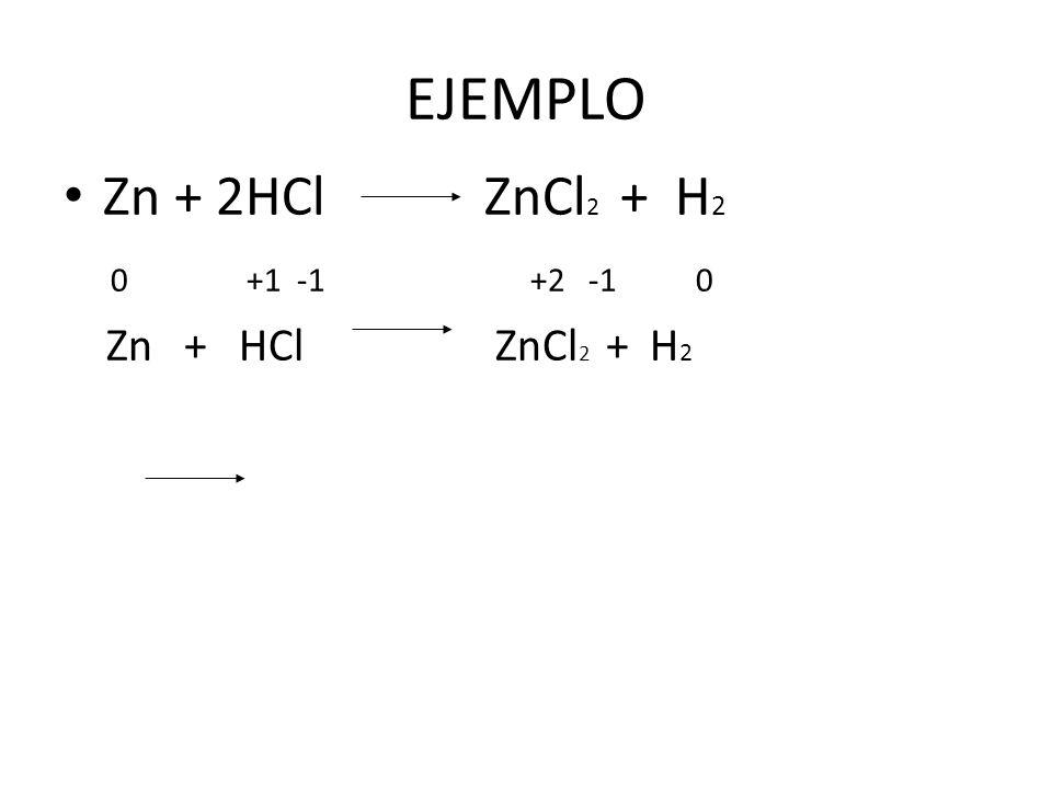 EJEMPLO Zn + 2HCl ZnCl2 + H2. 0 +1 -1 +2 -1 0.