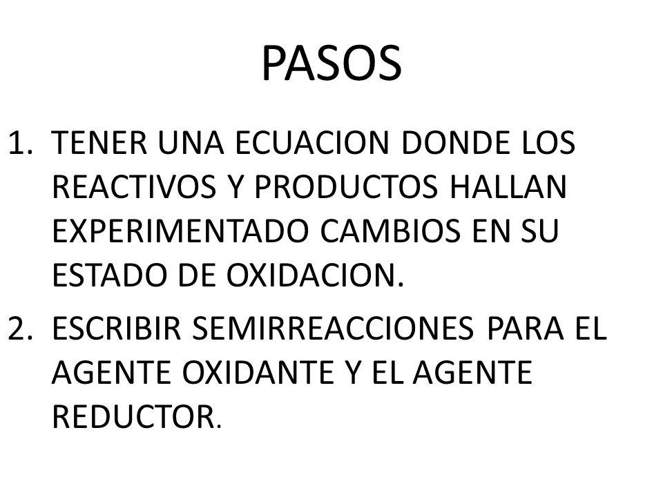 PASOS TENER UNA ECUACION DONDE LOS REACTIVOS Y PRODUCTOS HALLAN EXPERIMENTADO CAMBIOS EN SU ESTADO DE OXIDACION.