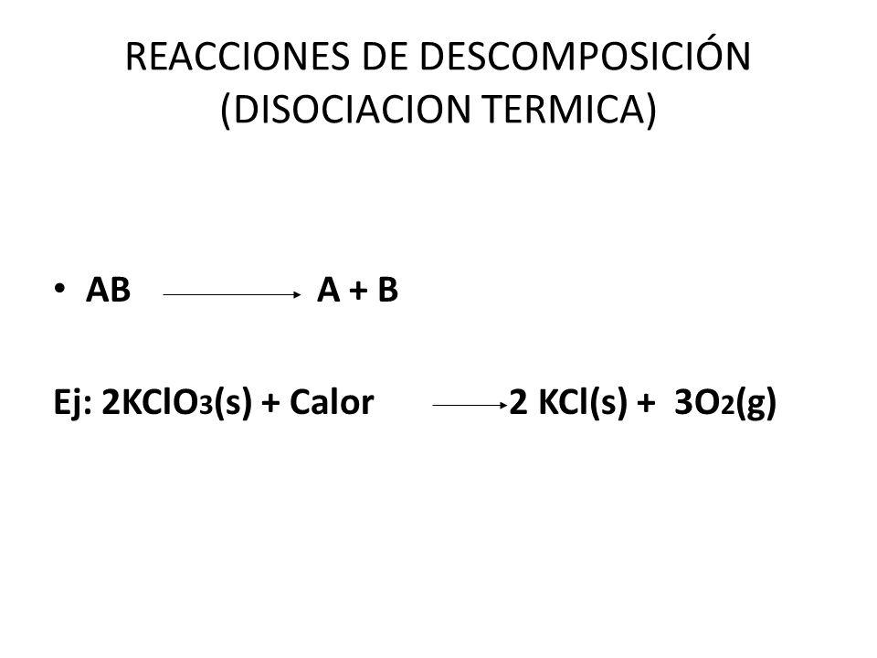 REACCIONES DE DESCOMPOSICIÓN (DISOCIACION TERMICA)