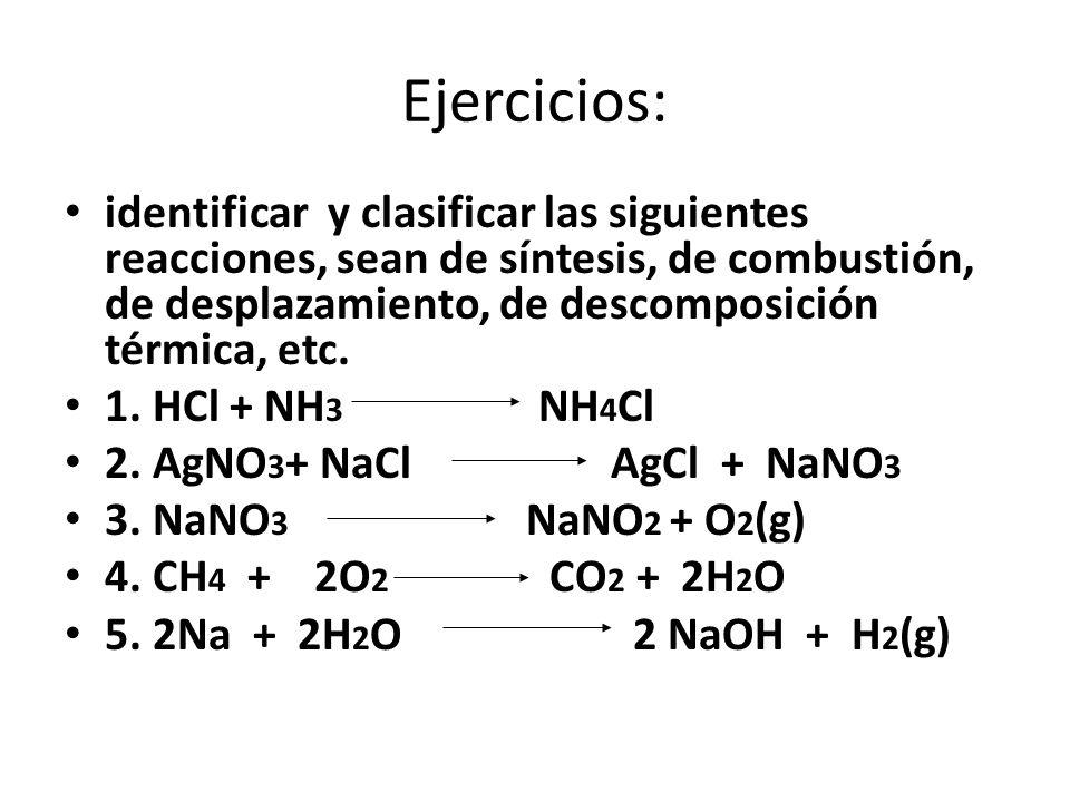 Ejercicios: identificar y clasificar las siguientes reacciones, sean de síntesis, de combustión, de desplazamiento, de descomposición térmica, etc.