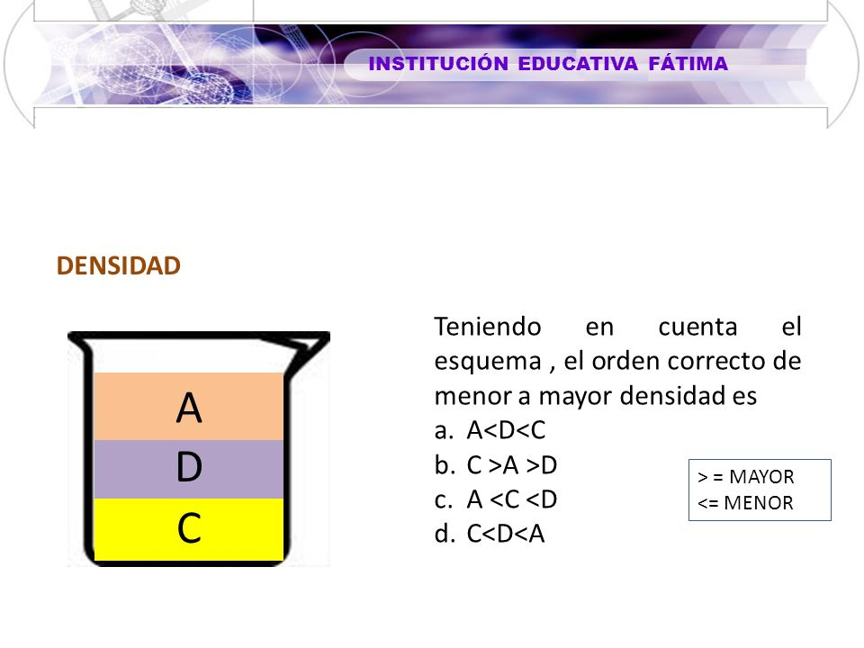 DENSIDAD Teniendo en cuenta el esquema , el orden correcto de menor a mayor densidad es. A<D<C. C >A >D.