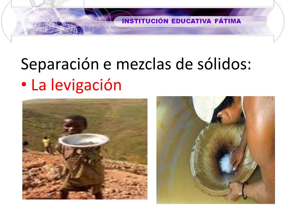 Separación e mezclas de sólidos: