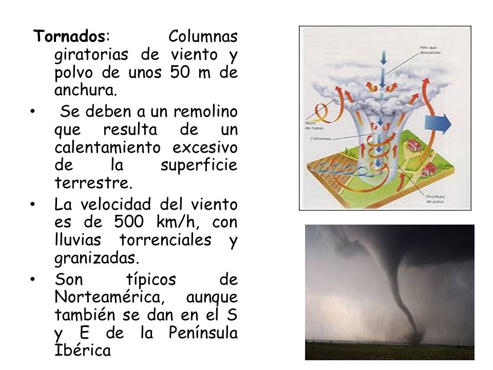 Tornados: Columnas giratorias de viento y polvo de unos 50 m de anchura.