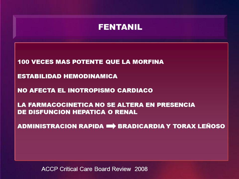 FENTANIL 100 VECES MAS POTENTE QUE LA MORFINA ESTABILIDAD HEMODINAMICA