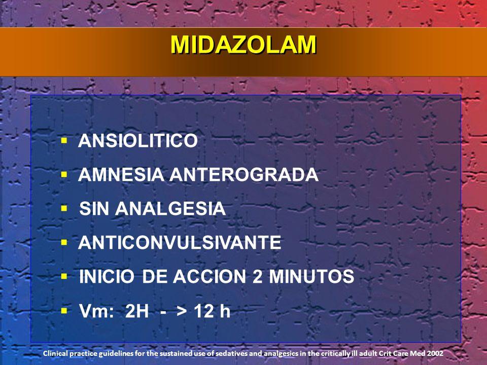 MIDAZOLAM ANSIOLITICO AMNESIA ANTEROGRADA SIN ANALGESIA