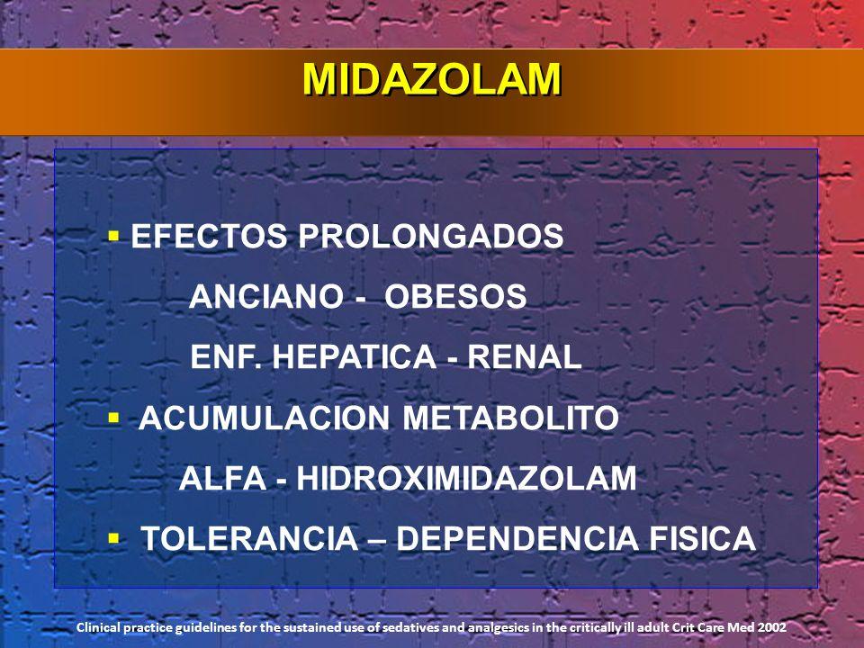 MIDAZOLAM EFECTOS PROLONGADOS ANCIANO - OBESOS ENF. HEPATICA - RENAL