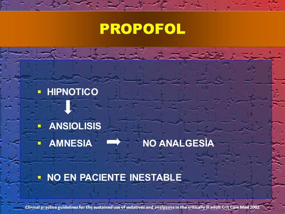 PROPOFOL HIPNOTICO ANSIOLISIS AMNESIA NO ANALGESÌA