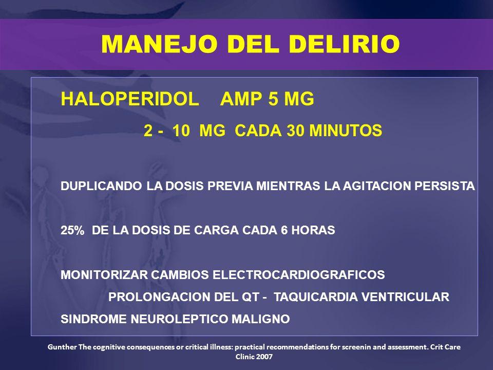 MANEJO DEL DELIRIO HALOPERIDOL AMP 5 MG 2 - 10 MG CADA 30 MINUTOS