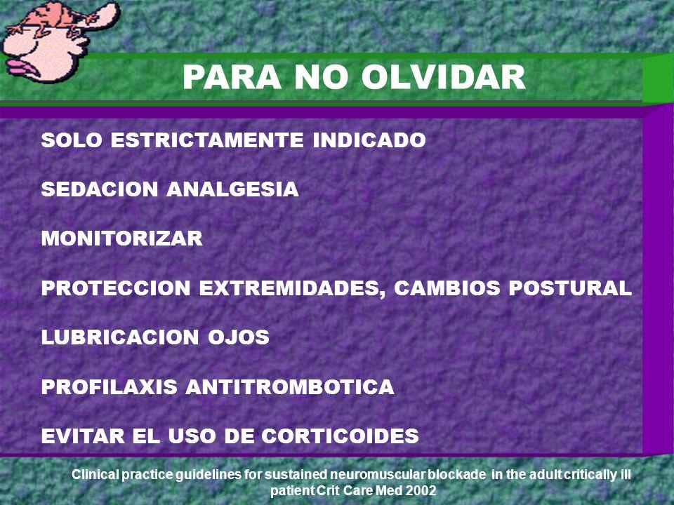 PARA NO OLVIDAR H+ SOLO ESTRICTAMENTE INDICADO SEDACION ANALGESIA