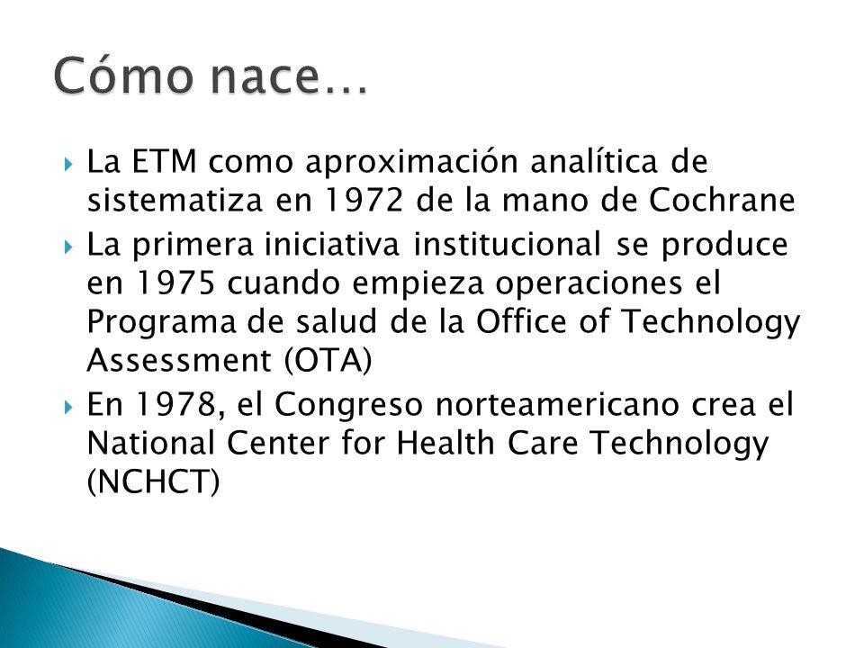 Cómo nace… La ETM como aproximación analítica de sistematiza en 1972 de la mano de Cochrane.