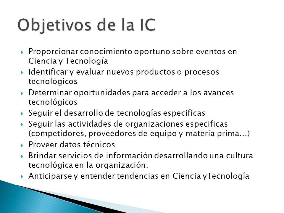 Objetivos de la IC Proporcionar conocimiento oportuno sobre eventos en Ciencia y Tecnología.
