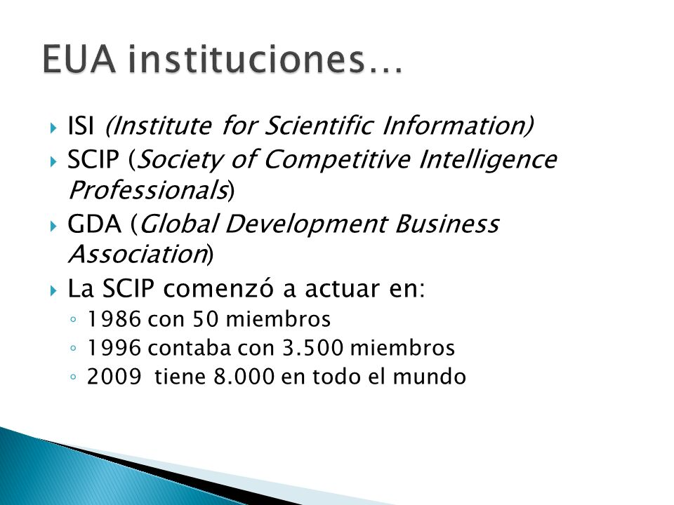 EUA instituciones… ISI (Institute for Scientific Information)