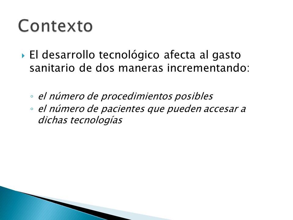 Contexto El desarrollo tecnológico afecta al gasto sanitario de dos maneras incrementando: el número de procedimientos posibles.