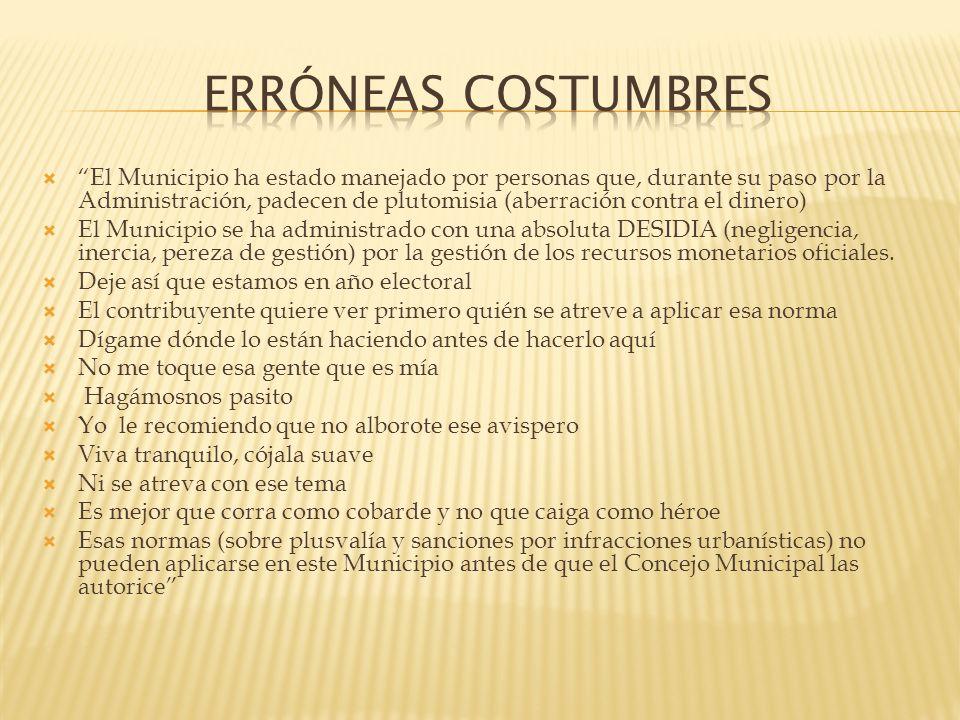 ERRÓNEAS COSTUMBRES