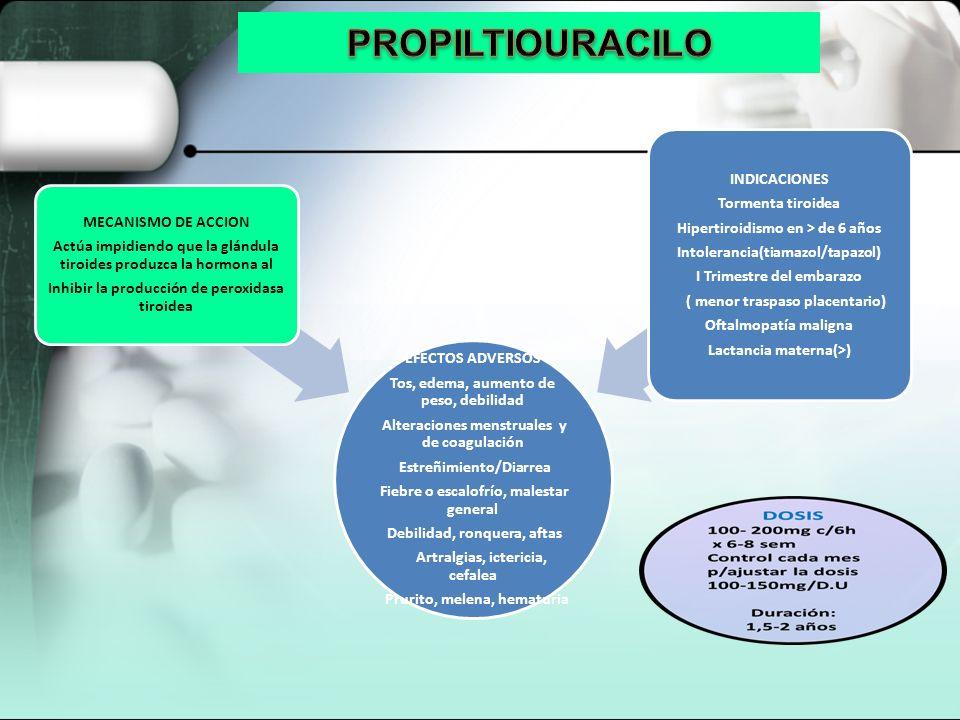PROPILTIOURACILO INDICACIONES Tormenta tiroidea