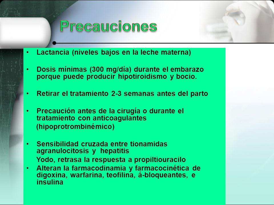 Precauciones Lactancia (niveles bajos en la leche materna)