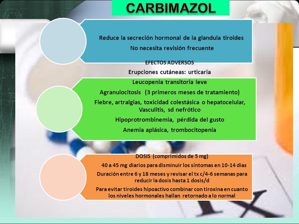 CARBIMAZOL Reduce la secreción hormonal de la glandula tiroides