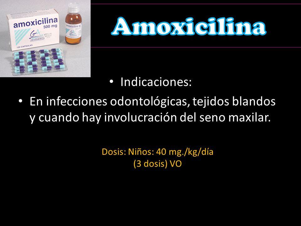 Dosis: Niños: 40 mg./kg/día