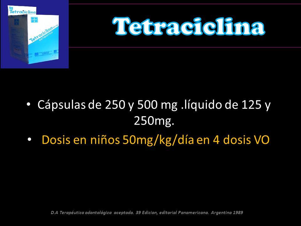 Tetraciclina Cápsulas de 250 y 500 mg .líquido de 125 y 250mg.